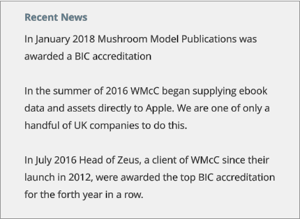 Recent News In January 2018 Mushroom Model Publications was awarded a BIC accreditation  In the summer of 2016 WMcC began supplying ebook data and assets directly to Apple. We are one of only a handful of UK companies to do this.  In July 2016 Head of Zeus, a client of WMcC since their launch in 2012, were awarded the top BIC accreditation for the forth year in a row.